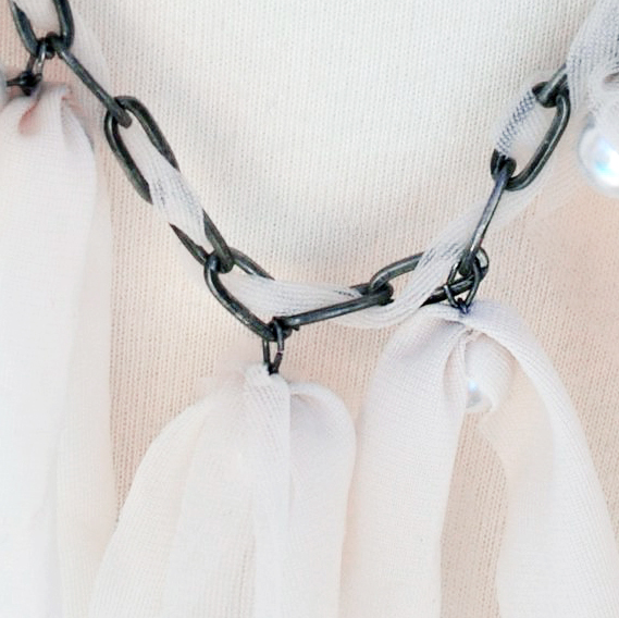 chain necklace with drop pearls & nude sheer fabric