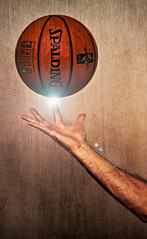 22 Ounces [24/365] (ⒷⓇⒺⓉⓉ) Tags: wood light orange adam texture basketball sport mystery photoshop ball dark religious wooden hand finger board magic spin chapel overlay creation flare americana balance michelangelo nba spark bounce sistine spalding