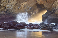 Light Force - Pfeiffer State Beach, California (PatrickSmithPhotography) Tags: ocean california light red sea mist seascape seaweed reflection water rock landscape sand sandstone bigsur wave pfeiffer tafoni photocontesttnc11