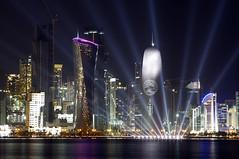 Doha Qatar Skyline Asian Cup 2011 Flavour (80sChiyuld) Tags: longexposure reflection water skyline night canon buildings lights corniche doha qatar asiancup2011