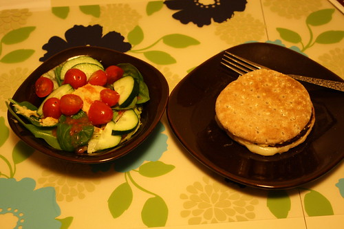 salad and black bean burger