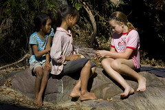 Bethan and the two Khamu girls near the waterfall 2 (Pondspider) Tags: girls mountains girl children hill resort jungle tribes tribe laos hilltribes bethan hilltribe indigenouspeople khamu anneroberts annecattrell muangla pondspider