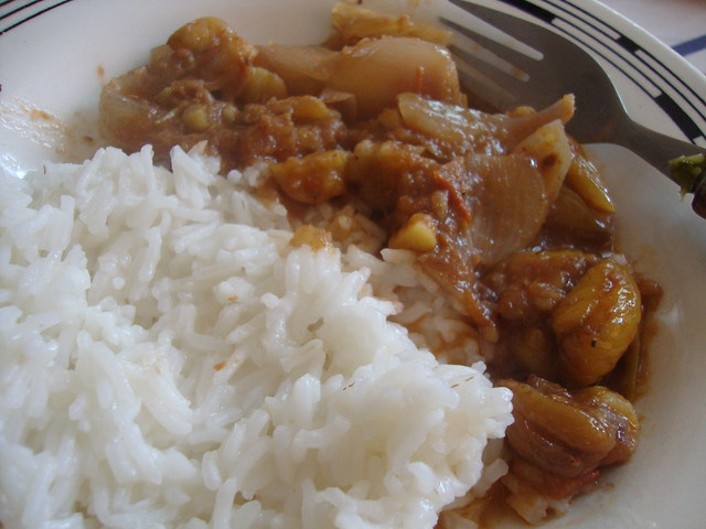chestnut stifado with pilafi