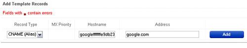 Enter CNAME for Google Apps verification - blankpixels.com