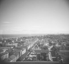 bird's view (lennajune) Tags: houses bird analog holga view malmö öresundsbridge
