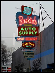 Baskins Auto Supply (Dusty_73) Tags: auto california sign vintage downtown neon central broadway historic fresno valley signage supply baskins