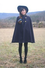swingy capes, wide brimmed hats (bloomingleopold) Tags: winter wardroberemix vintage outdoors woods tennessee urbanoutfitters ribbon braid thrifted 2011 blacktights hairribbon goldbuttons widebrimmedhats sidebraid outfitpost bloomingleopold militarycape navywoolcape studdedsuedeclogs