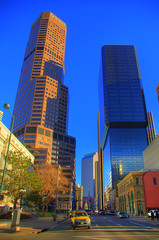 January Summer (splinx1) Tags: blue light sky color green art nature yellow composition colorado skyscrapers pentax towers handheld hdr 17thst wellsfargocenter photomatixpro verticalformat pentaxk10d smcpda1855mmf3556al qwesttower mciplaza pentaxart 1801californa
