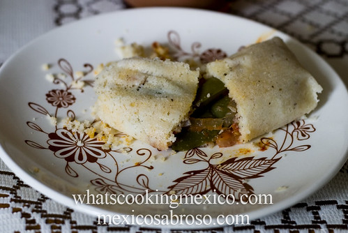 Rajas and quesillo tamal