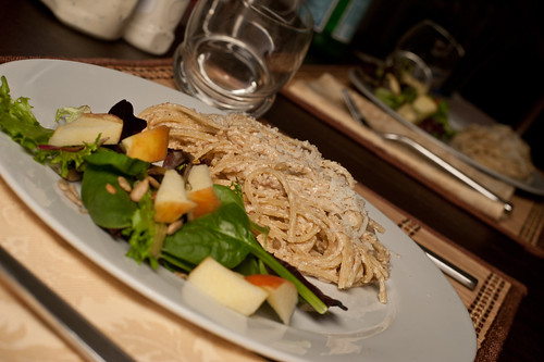 Walnut Pesto Pasta with Apple Salad