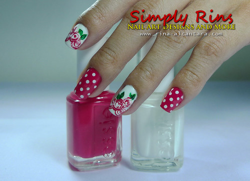 Valentine's Nail Art Bed of Roses 01