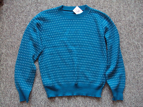 80's dark teal and white sweater