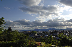 Kyoto Skyline. (Petrana Sekula) Tags: travel sky sun mountains japan skyline clouds landscape temple pagoda kyoto asia cityscape nippon nihon yasaka nikond2x hokanji yasakapagoda kyotoskyline westhonshu hokanjitemple