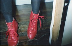 I Love your shoes ! (RE) Tags: party urban house love feet fashion vintage shoes dancing boots teen thrift fujifilm redshoes laces contaxt2 colorfilm contaxcamera