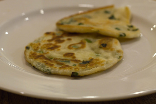 making scallion pancakes for the year of the rabbit