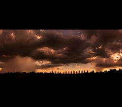 Isolated Thunderstorms (rhyspope) Tags: morning blue sunset sky panorama orange cloud storm black hot color colour building tree water rain weather silhouette yellow clouds photoshop sunrise canon landscape shower grey colorful afternoon stitch pano horizon border australia panoramic valley nsw newsouthwales thunderstorm hunter colourful aussie convection huntervalley maitland cs3 500d kurrikurri rhyspope