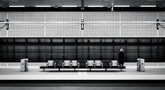 (*m22) Tags: urban bw woman berlin lines one 1 waiting alone geometry empty eins hauptbahnhof trainstation seats lonely hbf favs bahnsteig einsam warten allein