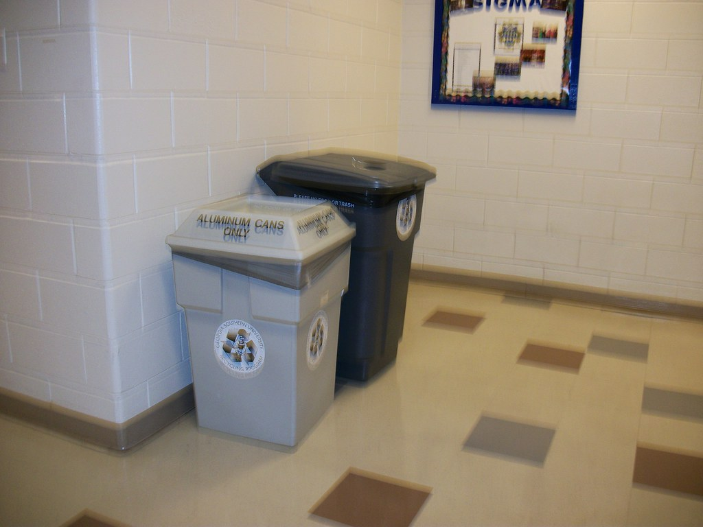 Aluminum Can and Plastic Bottle Recycling Bins in the Foy Building
