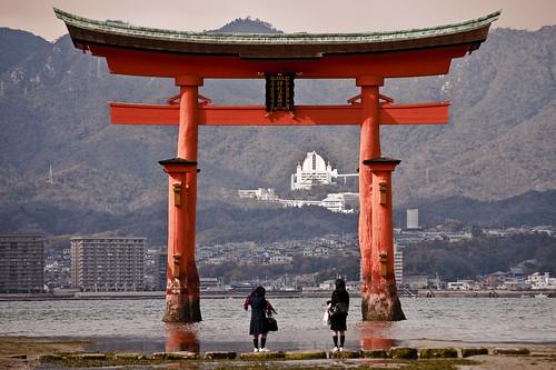 Schoolgirls at Itsukushima O-torii