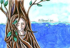 13022011 (xixaa) Tags: blue sky tree green nature girl leaves personal drawing misery emotional vague feelings aquarel