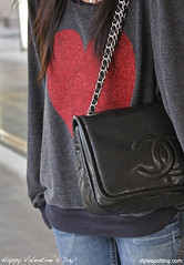A girl after my own heart. (StyleSpotting) Tags: red heart valentine denim redheart chanel robertsonblvd streetstyle happyvalentinesday chanelbag stylespottingcom jerrihowell heartsweatshirt