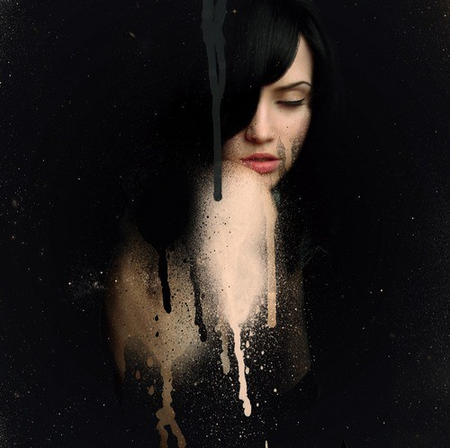 Elegant girl with black hair