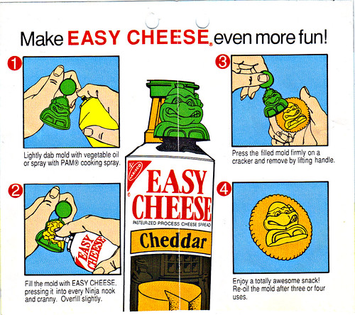 "NABISCO - ""EASY CHEESE"" :: 'TEENAGE MUTANT NINJA TURTLES' CRACKER TOPPER // .. tag ii (( 1991 ))"