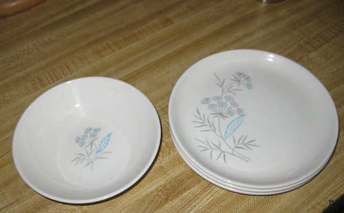 Royal Stetson Royal Maytime china--1 dessert bowl, 3 bread plates, c. 1950s