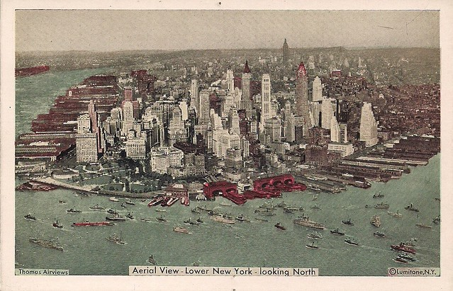 Aerial View - Lower New York - Looking North (Postcard)