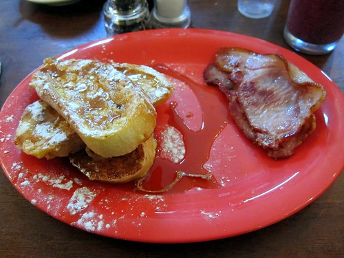French toast with maple syrup and bacon