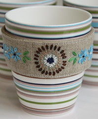 Vintage Pattern cup sleeve (elliefunkhandmade) Tags: embroidery feb cupsleeve febstitchalong
