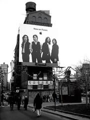 Beatles above Canal (b/w version) (Pushing_Pixels) Tags: nyc newyorkcity winter ny newyork apple john paul george chinatown manhattan watertower itunes billboard beatles johnlennon ringostarr bigapple watertank ringo canalstreet paulmccartney georgeharrison grayday
