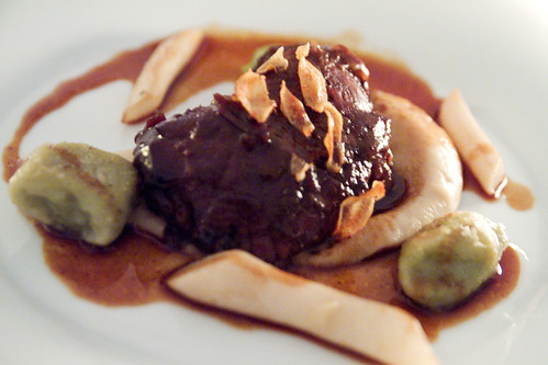 Veal cheek, gnocchi, sauce bordelaise
