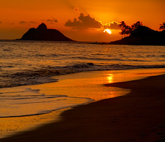 "Kailua Beach Sunrise (IronRodArt - Royce Bair (""Star Shooter"")) Tags: ocean travel sunset red sea summer vacation sky orange sun seascape reflection tree beach water beautiful silhouette night sunrise landscape island hawaii golden evening coast sand warm paradise view sundown oahu coconut outdoor dusk background horizon scene palm resort exotic shore tropical destination tropic coastline relaxation tranquil kailua mokulua"