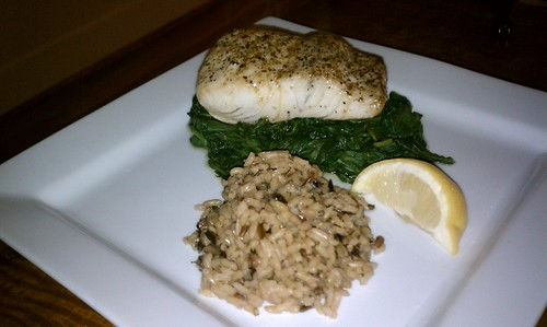 Broiled Mahi Mahi with Asian glaze, steamed spinach and wild rice