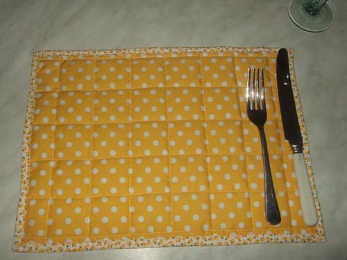 yellow polka dot table mat
