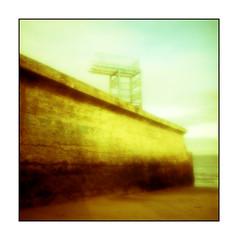 Balckrock Pinhole Zone Plate (Monosnaps) Tags: ireland sea bw color colour film beach yellow wall seaside sand decay board plate diving pinhole hasselblad starbucks 400 baths asa dart zone zoneplate blackrock dirtyoldtown blackrockbaths monosnaps mydublin eddiemallin irishpinholeimages