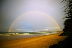 Rainbow (jms) Tags: sky beach water rain weather clouds rainbow surf nsw byronbay