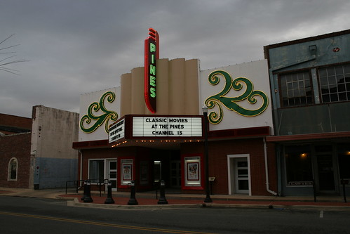 pines theatre on a cloudy morning