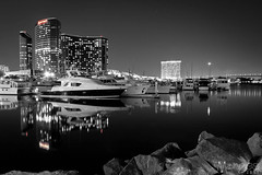 nightfall on the marina (Ross Manges Photography) Tags: sky water modern night sailboat marina marriott hotel harbor boat rocks apartment sandiego yacht condo embarcadero highrise coronadobridge