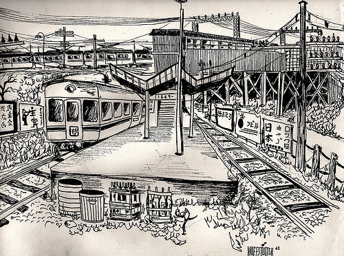 YAMATO TRAIN STATION 1963 JAPAN 日本 by roberthuffstutter