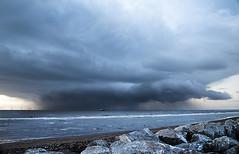 Leaving under a cloud, Crosby (Ianmoran1970) Tags: sea cloud beach wet rain stone grey mersey windfarm crosby windturbines ianmoran ianmoran1970