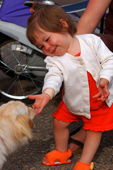 Tickled Pink (Marv R Penner) Tags: street portrait dog cute girl smile nikon child bright bestflickrphotography