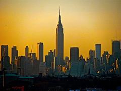 Empire State Building Silhouette IMG_7826 (joecomper) Tags: sunset golden empirestatebuilding silhouette manattanskyline skyscrapers midtown nyc newyorkcity skyline longislandcity queens manhattan