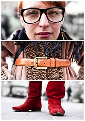 Triptychs of Strangers #6: The ColorMatched - Hamburg (adde adesokan) Tags: street travel red portrait woman brown color rot smile hat pen photography glasses belt eyes shoes triptych boots bokeh voigtlander voigtlaender hamburg streetphotography olympus stranger portrt puzzle brille braun augen frau schwarz mdchen voigtlnder sternschanze 25mm triptic ep1 tryptic haare schanze triptychs f095 streetphotographer grtel m43 triptychon mft cutted mirrorless triptychons 100strangers microfourthirds theblackstar mirrorlesscamera streettogs triptychonsofstranger triptychsofstrangers