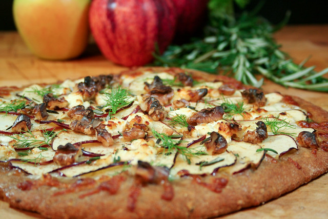 Apple, Goat Cheese and Walnut Pizza-2