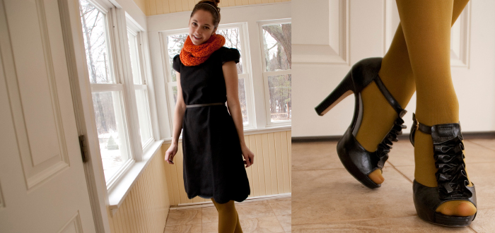 eshakti dress wool black lbd scallops ruffles t-strap orange cowl knit green bun dotty style blog modest