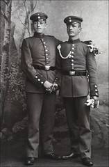 Two Barvarian Men In Uniforms. (newmexico51) Tags: old men hat vintage germany belt uniform boots buttons military wwi cigar gloves german worldwarone soldiers handshake sharpshooter nco homem hombre homme braid beltbuckle barvarian schützenschnur shootingaward