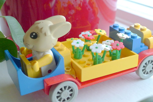 Little Miss rabbit vintage lego on the road