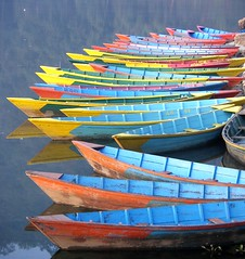 Bright boats (gordontour) Tags: travel nepal lake tourism water landscape boats asia pokhara fewalake phewatal